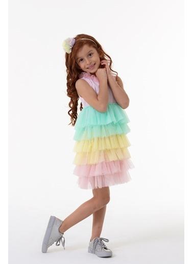 Colorinas Rainbow Tutu Elbise Kısa Kol Pembe Pembe